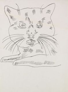 Portrait of Sam, 1956 by Andy Warhol (American 1928-1987). India ink drawing