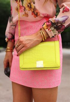 Floral Blouse + Pink Skirt + Ted Baker Crossbody