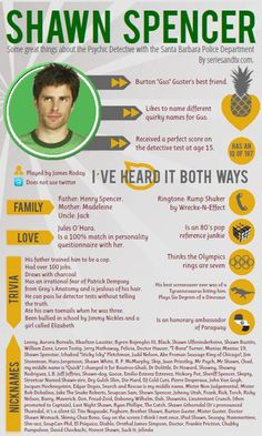 Who is Shawn Spencer - Psych Infographic #Psych #Infographic #DeliciousFlavour