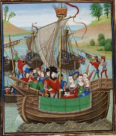 Froissart's Chronicles: Returns to England, Isabella of France with Lord Mortimer and Count of Hainut.