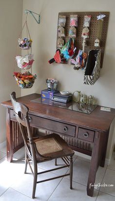 Craftaholics Anonymous® | Craft Room - Kelsey at Poofy Cheeks Boutique! Hanging fruit basket to hold thread and fabric scraps
