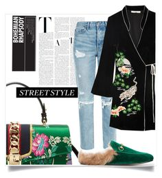 """NYFW Street Style"" by marybloom ❤ liked on Polyvore featuring Gucci, GRLFRND, RIXO London, StreetStyle, velvet, kimono, loafer and marybloom"