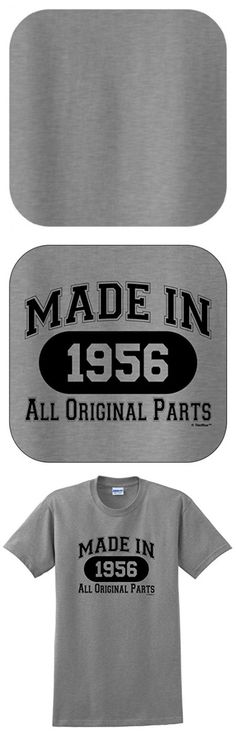 60th Birthday Gift Made 1956 All Original Parts T-Shirt Medium Sport Grey