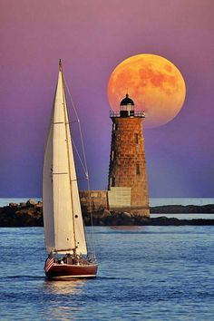 Sailing, #lighthouse, and a full #moon http://dennisharper.lnf.com/