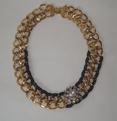 Black, Gold and BOLD! Vintage Chunky Gold Chain with Crystal Rhinestone by ZacariPiper, $45.00