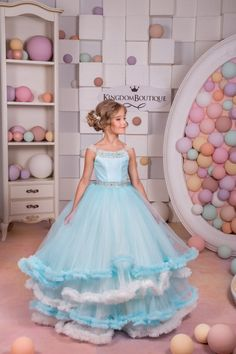 Light Blue and Ivory Tulle Flower Girl Dress by KingdomBoutiqueUA
