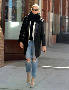 Former Victoria's Secret model Karolina Kurkova steps out on February 7, 2014 in New York City, New York.