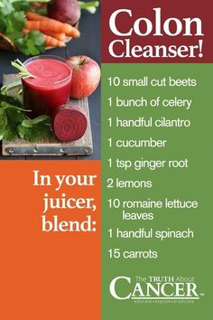 Let's get juicing! Colon Cleanser: Ingredients include beets celery cilantro cucumber ginger root lemons lettuce leaves spinach and carrots. See the image above for the recipe. Juicing is the first thing a patient should do when they receive a canc Detox Diet Drinks, Detox Juice Recipes, Natural Detox Drinks, Detox Juices, Cleanse Recipes, Juicer Recipes, Juice Drinks, Blender Recipes, Salad Recipes