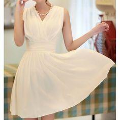 Sweet V-Neck Solid Color Beam Waist Women's Chiffon Dress