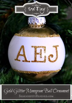 gold and white monogrammed glass ball ornament by serendipity refined ornament wedding favors glass ball