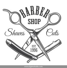 Buy Vintage Hairdresser Salon Label by imogi on GraphicRiver. Vintage hairdresser salon label with barber scissors and razor blade isolated vector illustration Barber Tattoo, Barber Logo, Barber Shop Interior, Barber Shop Decor, Hair Salon Logos, Salon Names, Barber Quotes, Vintage Hairdresser, Shaving Cut