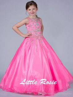 2015 Little Rosie Girls Pageant Gowns Crew Neck Beading Crystals Neon Pink Yellow Organza Ball Gown Flower Girls Dresses with Zipper Back from Nicedressonline,$156.64 | DHgate.com