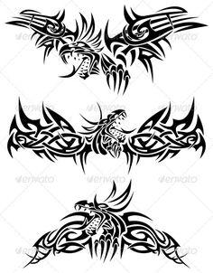 Tattoo dragons by Bastetamon Three tribal tattoo with mythic dragons. Dragon Tattoo Vector, Dragon Tattoo Drawing, Tribal Dragon Tattoos, Small Dragon Tattoos, Chinese Dragon Tattoos, Tribal Tattoos For Men, Hand Tattoos For Guys, Small Tattoos For Guys, Geometric Tattoos