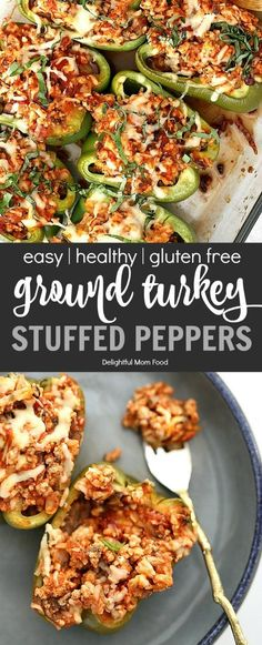Dinners got even better with these healthy stuffed peppers! Ground turkey stuffed peppers are ultra-easy, healthy, low fat, gluten-free, made ahead-of-time! Healthy Turkey Recipes, Healthy Ground Turkey, Ground Turkey Recipes, Healthy Stuffed Bell Peppers, Ground Turkey Stuffed Peppers, Ground Turkey Pasta, Ground Turkey Tacos, Stuffed Turkey, Kitchens