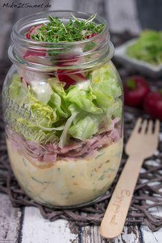 Schinken Eier Radieschen Salat im Glas Rezept einfach vorbereiten Mittagessen mitnehmen togo Kresse