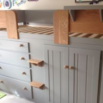 Grey 4 Drawer Cabin Bed with Oak Steps and Rails