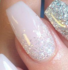 White glitter ombre nails