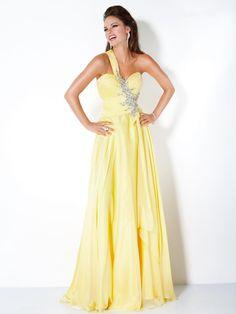 A-line One Shoulder Long Chiffon Prom Evening Dresses 601067
