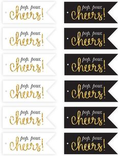 Free New Year's Eve Champagne Flute Tags Printables | http://Pizzazzerie.com