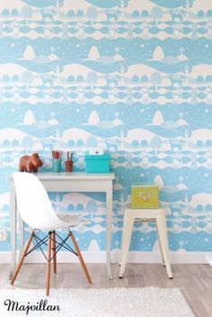 Swedish brand, Majvillan, has launched a gorgeous new range of wallpaper designs for kids. These delightful wallpaper designs for kids will transform their bedroom into a magical wonderland. Kids Desk Space, Kid Desk, Kids Wallpaper, Pattern Wallpaper, Winter Wallpaper, Wallpaper Murals, Casa Kids, Wallpaper Companies