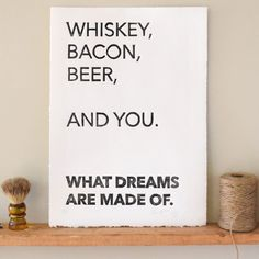 Whiskey Bacon and Beer Linocut Print Wall Art Home Decor. This handmade print makes a great gift for that person of your dreams. This piece of art was made using a giant stamp carved by my two hands! The stamp is inked and then cranked by-hand through a printing press. Each mark carved into the block is pressed into the paper adding depth and character making each print unique. The paper is 100% cotton and made in the USA.
