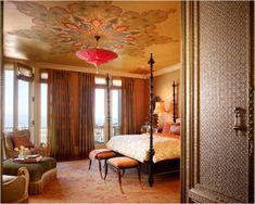 orientalisches design schlafzimmer dekorative decke blumen
