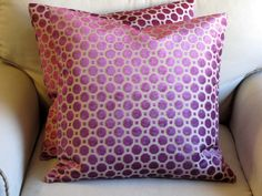 MAGENTA Velvet Large Sofa pillows 20x20 PAIR with by yiayias