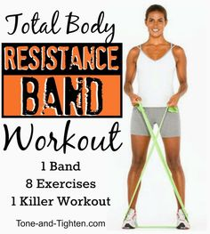 Body Resistance Band Workout – 8 exercises to tone and tighten from head to toe Amazing total body resistance band workout from Tone-and-!Amazing total body resistance band workout from Tone-and-! Fitness Workouts, Sport Fitness, At Home Workouts, Fitness Tips, Health Fitness, Exercise Band Workouts, Resitance Band Workout, Arm Workout With Bands, Basic Workout