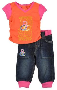 Rocawear Infant Girls Pink-Orange 2Pc Denim Pant « Clothing Impulse