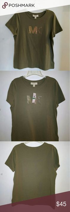 MK  t shirt Army green color brand new.  The mk has 3 different colors a gold,  rose gold and a chocolate shine really nice. Michael Kors  Other