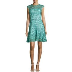 Monique Lhuillier Sequined Guipure Lace Cocktail Dress (35 070 UAH) ❤ liked on Polyvore featuring dresses, blue, cap sleeve cocktail dress, sequined dresses, cap sleeve dress, monique lhuillier cocktail dresses and blue sequin cocktail dress