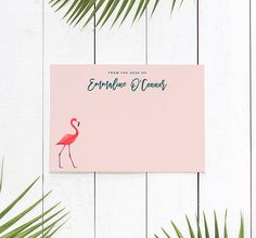 Tropical Flamingo Stationary Cards, Tropical Monogram Paper, Personalized Notecards, Office Supplies for Women | SET OF 10