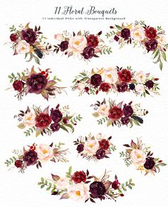 Watercolor flower Clip Art-Marsala - Illustrations