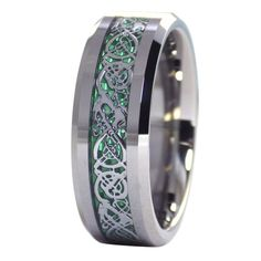 Tungsten 8mm Silver Tone Viking Dragon Celtic Knot Ring Green Carbon Fiber Wedding Band Size 8