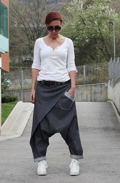 Unisex Harem Pants/ White Denim Pants/ Drop Crotch Pants/ Baggy Pants/ Women Men/ Plus Size Pants/ Low Crotch Pants/ Cotton Pants/ Jeans Baggy Pants, Denim Pants, Harem Pants, Trousers, Boho Pants, Jeans Dress, Older Women Fashion, Fashion Tips For Women, Womens Fashion