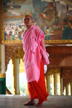 Buddhist nun in pink kasaya robe, Myanmar