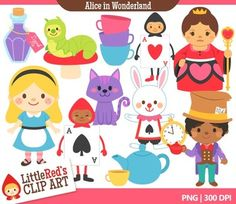 Clip Art - Alice in Wonderland - Fairy Tale Clipart $