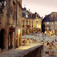 Place de la Liberté - Sarlat, France. The Dordogne region of France, just east of Bordeaux, is famous for duck and black truffles. A must visit destination for every French food enthusiast.