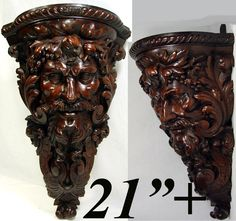 "Huge 21"" Antique Hand Carved Corner Bracket Shelf, Bacchus  Figural Carving, c.1800 or Earlier"