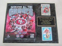 """San Francisco 49ers All Time Greats 2 Card Collector Plaque by SAN. $24.99. This 2 card collectors plaque measures 12""""x15"""" and includes a fully licensed 8""""x10"""" photo that IS REMOVEABLE and 2 cards. A GREAT ITEM for any sports fan!"""