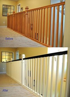 Great website with before and after shots of her fixing/decorating her home.  This is what I want to do to my banister and know I can see what it will look like.
