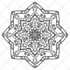 Printable Mandala Coloring Page for Adults N.7   Adult Coloring   A4, A3, Letter, legal, tabloid PDF #etsy #mandala #printable   Mandala in black and white to print and color for kids and adults. It's useful for family fun and to relieve stress with color therapy.