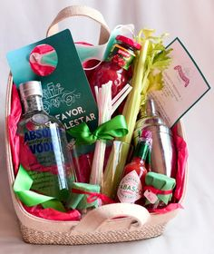 "Hangover kit. 21st birthday/Bachelorette gift ideas. bloodymary, New Year's Gift.... AWESOME IDEA. New meaning to ""Care Package"" lol"