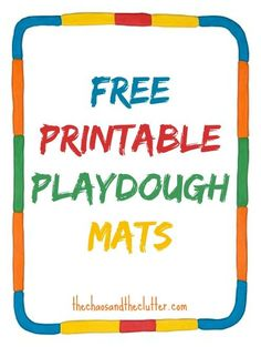 These free printable playdough mats make setting up a playdough station easy and most incorporate learning concepts as well. Preschool Learning, In Kindergarten, Learning Activities, Time Activities, Teaching, Therapy Activities, Playdough Activities, Preschool Activities, Tot School
