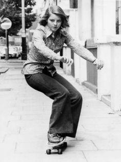 Teen Jodie Foster on a skateboard, famous celebrity in film, fashion, art, music,beautiful fame, the wall of fame, collected by marald marijnissen, www.marijnissenfotografie.nl