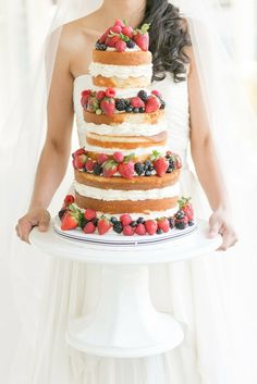 Go Naked With 21 Frosting-Free Wedding Cakes via Brit + Co.