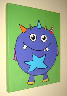 Little Purple Monster Nursery Painting
