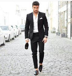 2017 New Men Suits Slim Custom Fit Tuxedo Black Navy Blue Fashion Business Dress Wedding Suits Blazer Two Pieces Mode Masculine, Mens Fashion Suits, Mens Suits, New Mens Fashion, Fashion Menswear, Black Suit Men, Black Pants, Mode Man, Wedding Suits