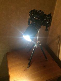 Upcycled/Recycled Vintage Tripod Praktica Camera Light Lamp Theatre Retro Lamp