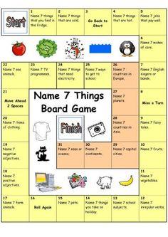 Board Game - Name 3 Things (Hard)